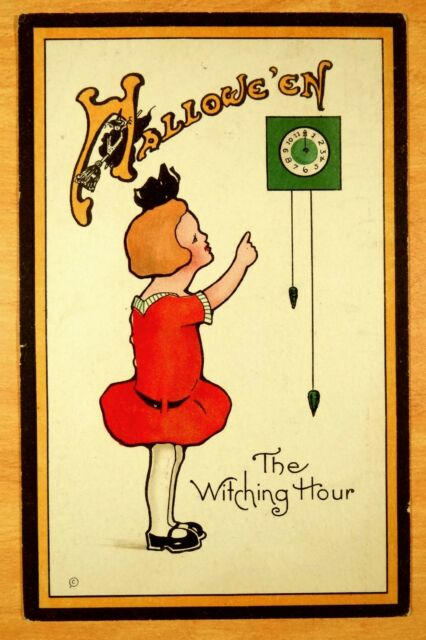 THE WITCHING HOUR rare Nash HALLOWEEN H-19 Vintage Postcard 1921 Witch in letter