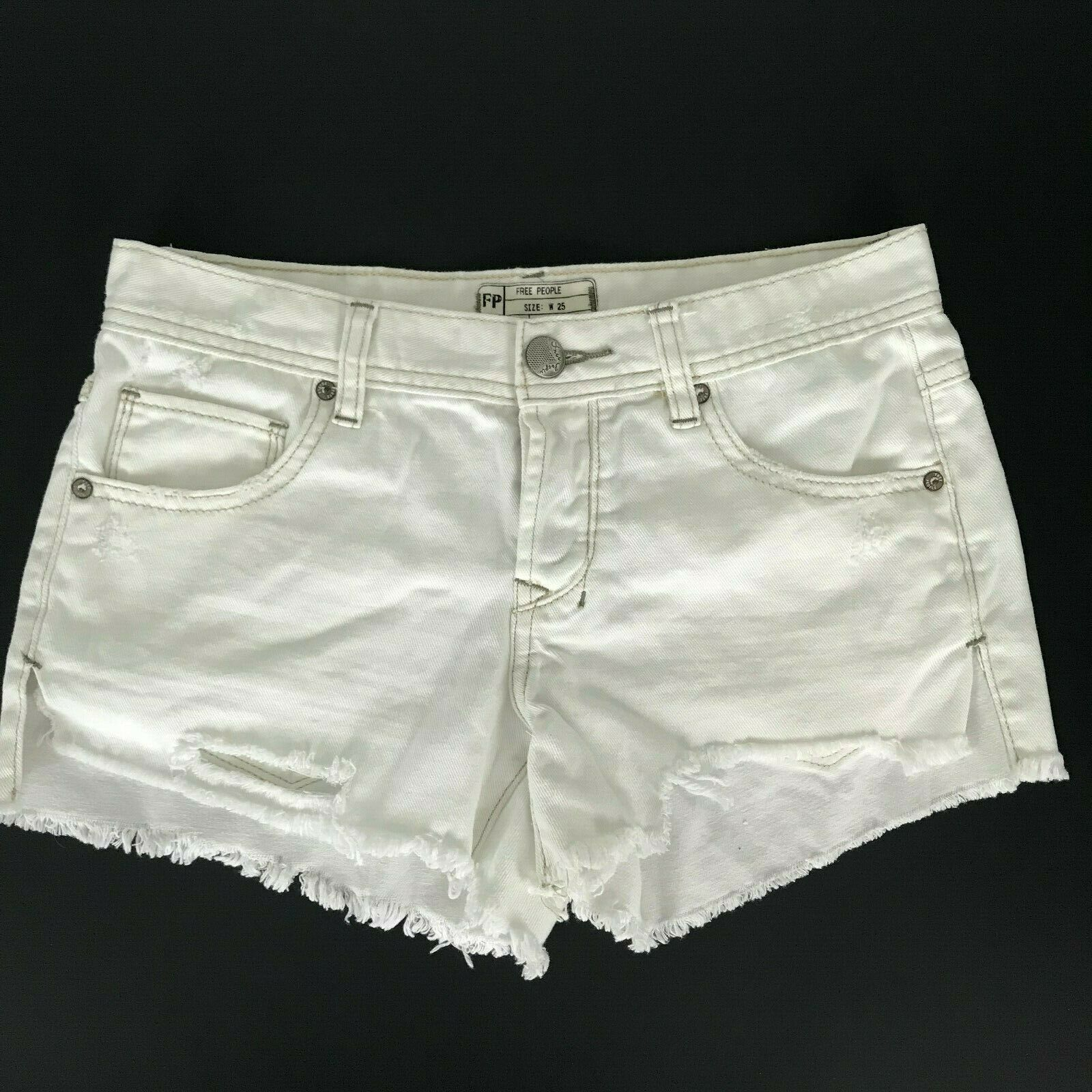 Free People Womens Shorts Size 25 White Distressed Button Fly Raw Hem Casual