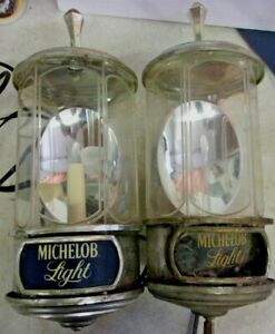 Vintage-1982-MICHELOB-LIGHT-Sconce-Style-Lighted-Beer-Signs-pair-PARTS-ONLY