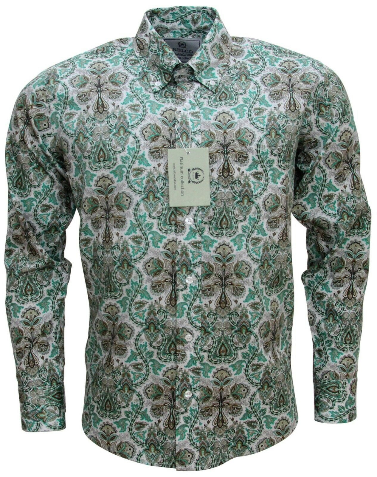 9ecf4f34 Relco Men's Green Paisley Long Sleeved Button Down Collar Premium 60's Mod  Shirt
