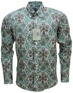 a anni degli maniche collo da con Paisley con verde lunghe '60 a relco maniche pois lunghe Camicia verde uomo wngSYwqF