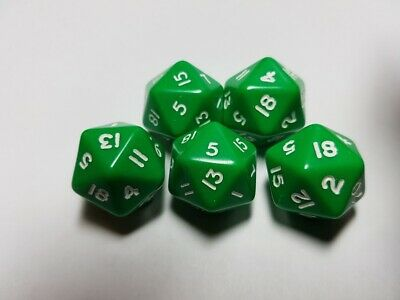 Ultima Raccolta Di Dadi & Games Opaco D20 X 5 Verde D&d Rpg-mostra Il Titolo Originale