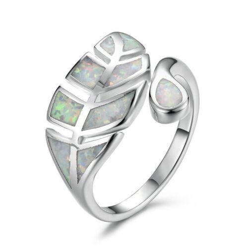 Exquisite Blanc Imitation Opale feuilles Bague Argent Mariage Bijoux Réglable