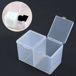 2 Compartments Storage Container Box for Nail Art Cotton Pad Polish