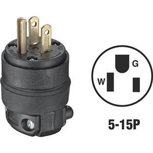 s l300 10 pk leviton nema 5 15p rough use 3 wire 2 pole electric cord plug