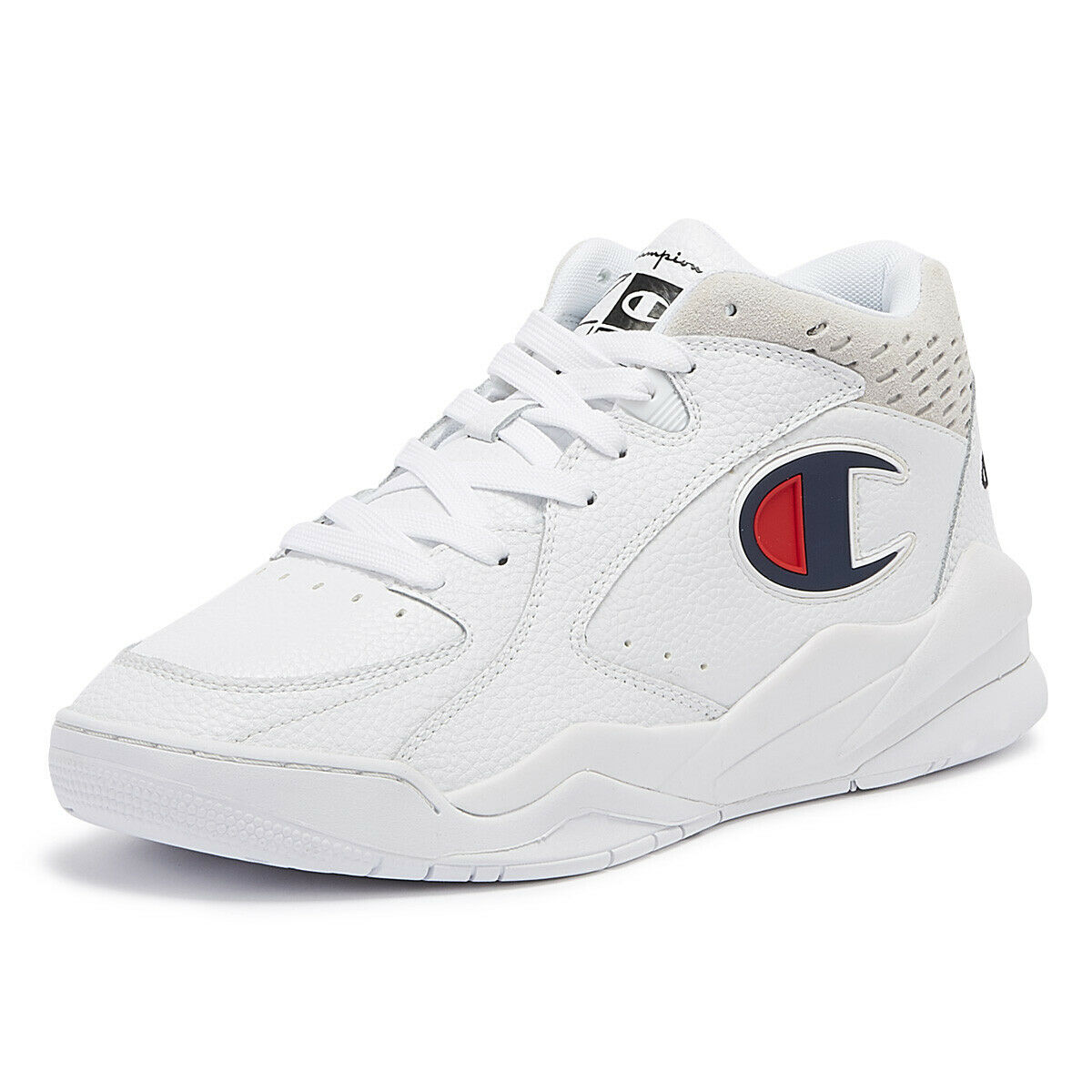 Champion Zone Mid Mens White Trainers Lace Up Sport Casual shoes