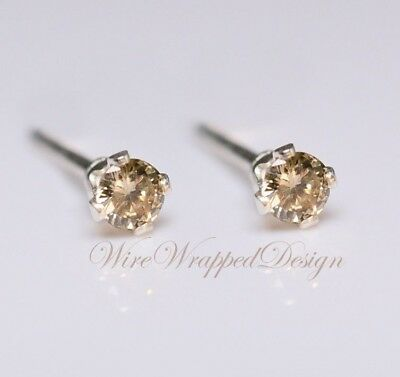 Genuine Brown Diamond Earrings 2mm 0 08tcw Treated Si 14k Gold Silver Platinum Ebay