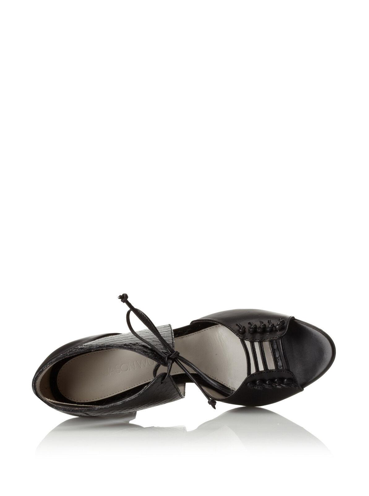 795 795 795 Jason Wu Billie nero leather ankle tie sandals scarpe heels 38 7.5 ITALY 4946df