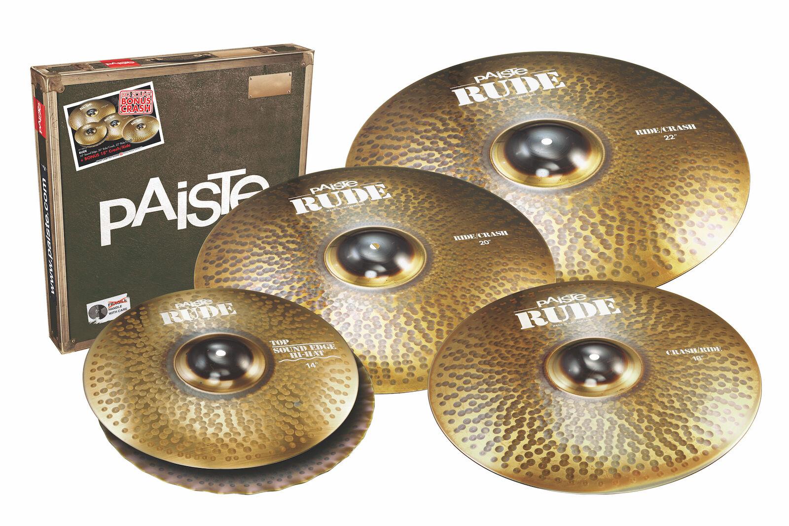 Paiste Rude Cymbal Set 14 20 22 + Free 18 - CY000112BS18