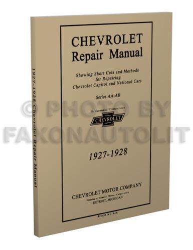 Automobilia 1927 1928 Chevy 8.5 x 11 inch Shop Manual Chevrolet ...