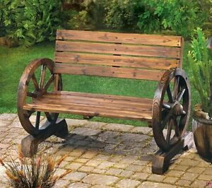 Image Is Loading Wood Wooden Wagon Wheel Garden Park Patio Furniture