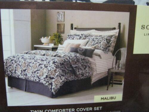 New SONOMA MALIBU TWIN COMFORTER DUVET COVER and Sham SET NAVY BLUE NIP