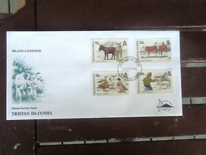 TRISTAN-DA-CUHN-OFFICIAL-FIRST-DAY-COVER-ISLAND-LIVESTOCK-SET-4-STAMPS-1994