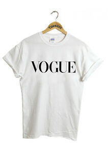 VOGUE Celebrity Party Fashion White Black Burgundy Unisex Men Women Top T Shirt