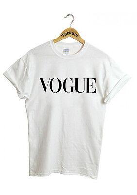 VOGUE Celebrity Party Fashion White Black Burgundy Unisex Men Women Top T Shirt