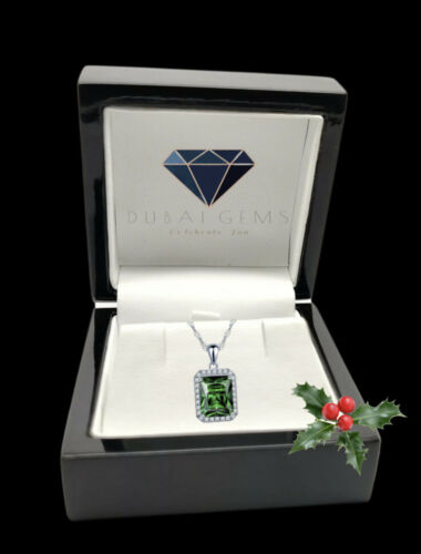 White gold finish Emerald Cut Emerald And Created Diamond pendant Necklace