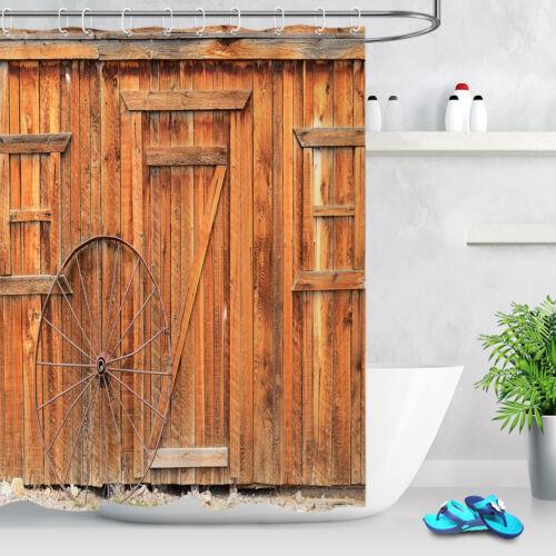 Rustic Wood Boards Barn Door Waterproof Fabric Shower Curtain 12Hooks /& Bath Mat