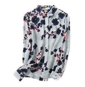 100-Silk-Blue-Floral-Long-Sleeve-Spring-Shirt-Tops-Blouse-Chic-Women-039-s-Comfy-XL