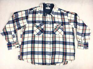 Windbreaker-Plaid-Flannel-Long-Sleeve-Shirt-Men-039-s-Size-XL