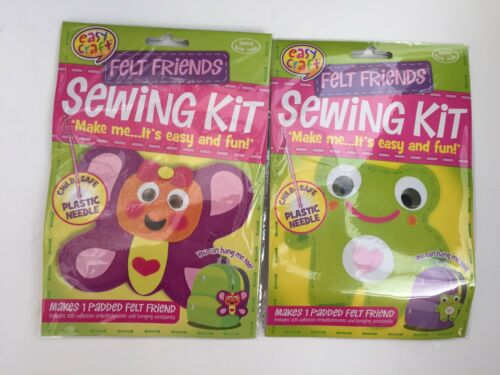 Frog /& Butterfly age 3+ 2 x Felt Padded Childrens Animal Sewing Kit