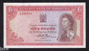 RHODESIA-P-28-1967-One-Pound-QE-11-Portrait-EF