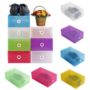 Plastic-Shoes-Boots-Storage-Box-Clear-Stackable-Foldable-Organiser-Shoe-Bag-New