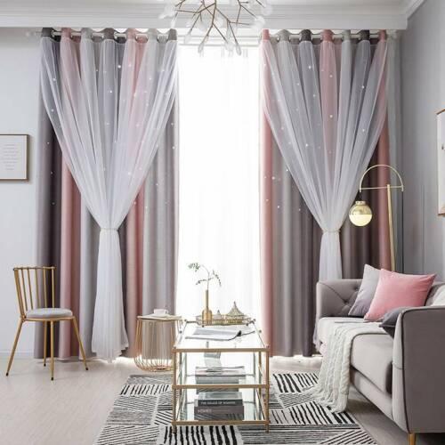 Bedroom Blackout Curtains Living Room Window Heat Sheer Drape Curtain HS