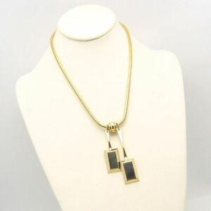 Vintage-Chunky-Convertible-Necklace-Large-Geometric-Slide-Pendants-Thick-Chain