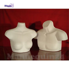2 White Free Standing Mannequins Set Male Female Torsos With Removal Hanger