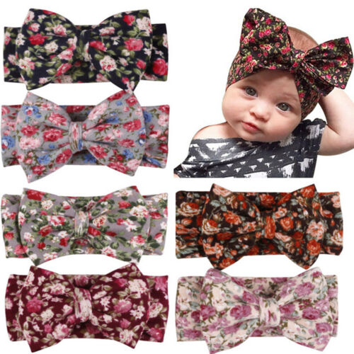 Babies Headband Bowknot Lovely Print Flower Head Strap Hair Accessories