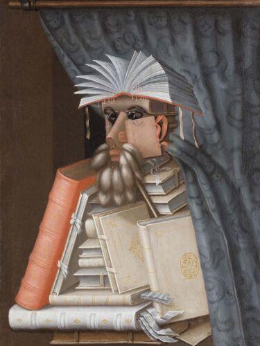 PAINTING BIBLIOTEKARIEN KONSERVERAD SKOKLOSTERS SLOTT BOOK MAN ART PRINT LF1934