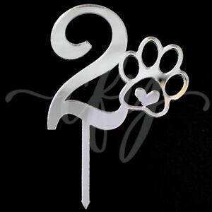 Pawsome Furbaby Pet Dog Cat 8th Birthday Cake Topper Acrylic Silver Mirror Eight