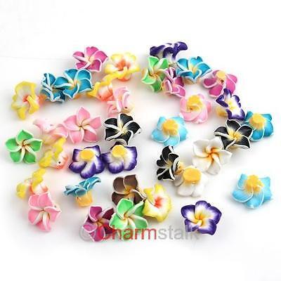 50 Neu gemischt farben Fimo Polymer Clay Blumen Perlen Beads 15mm 111590