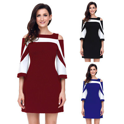 Sexy 3/4 Sleeve Colourblock Slim Mini Cold Shoulder Casual Cocktail Party Dress