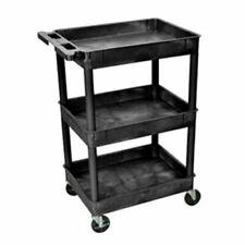 Luxor Tray Top Shelf 3 Shelf Plastic Utility Cart 4 Casters 24l X 18w X