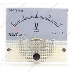 1 × DC 20V Analog Panel Volt Voltage Meter Voltmeter Gauge 85C1 White 0-20V DC