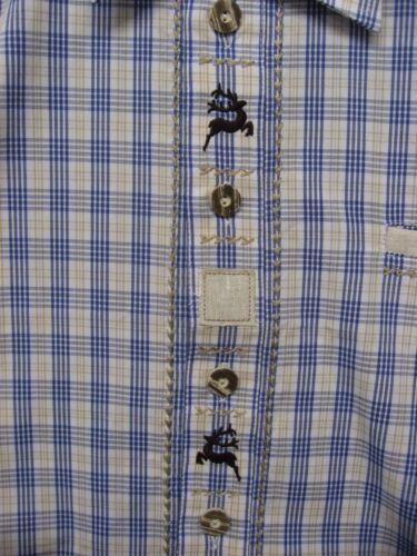 manches courtes Marteau schmid messieurs trachtenhemd bleu-beige à carreaux taille 41 NEUF