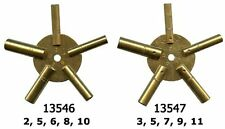 5023 Brass Universial Clock Key For Winding Clocks 5 Prong Odd Numbers Maritime Antiques