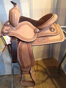 12-034-Cowboy-roughout-youth-all-around-western-saddle-w-copper-studs-conchos