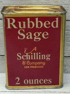 Vintage-Schilling-2-oz-Rubbed-Sage-Tin-Spice-Can