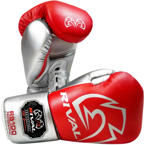 Rival Boxing RS100 Pro Sparring Boxing Gloves Red//Silver