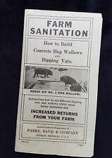 1919 Parke Davis Detroit Leaflet Farm Sanitation Concrete Hog Wallows Dip Vats