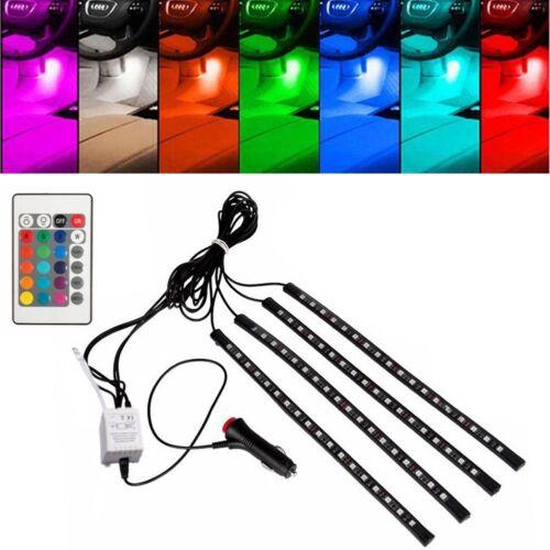4Pcs 9//12//15//18LED RGB Car Auto Strips Atmosphere Lamp Interior Light Kit 12V