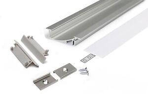 Set-Profilo-Alluminio-LED-FLAT8-Incasso-Segnapasso-Cover-Tappi-Ganci