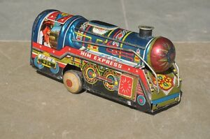 Vintage-Fine-Litho-HIM-Express-Friction-Train-Tin-Toy-Collectible