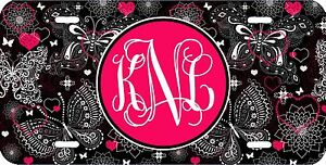 MONOGRAMMED-LICENSE-PLATE-CUSTOM-CAR-TAG-BLACK-HOT-PINK-BUTTERFLY