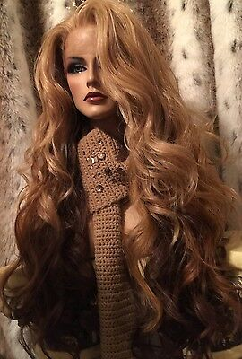 """GORGEOUS!! HH BLEND, Ombre Blonde, Red, Brown,Multipart, 32"""" Long Lace Front Wig"""
