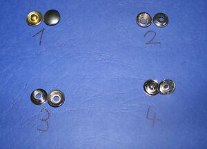 5 x Druckknopf, 4-teilig (Ober- und Unterteil), Messing vernickelt