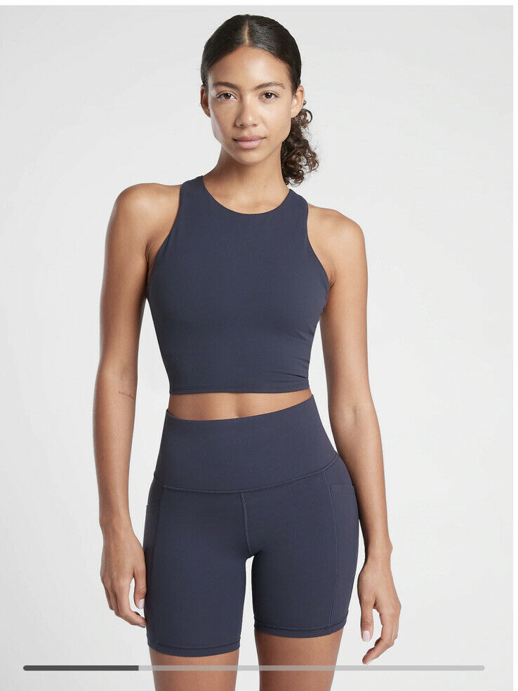 New! Athleta Conscious Crop in Powervita D-DD Navy SIZE Large #531221