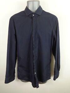Para-Hombre-Hugo-Boss-Azul-Marino-Botones-Formal-De-Manga-Larga-Ajustada-Camisa-L-Grande-UK